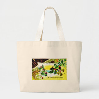 Christmas greeting with church and bells bag