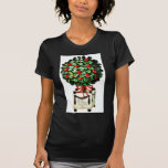 Christmas greeting with gift with holy leaves shirts