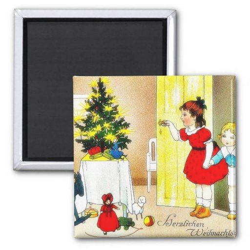 Christmas greeting with kids opening the door and refrigerator magnets