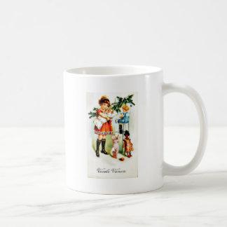 Christmas greeting with kids playing with toys coffee mug