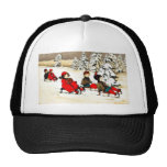 Christmas greeting with kids snow slading trucker hats