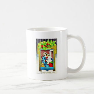 Christmas greeting with Mary and infant jesus phot Mug