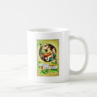 Christmas greeting with mother caring her children mugs