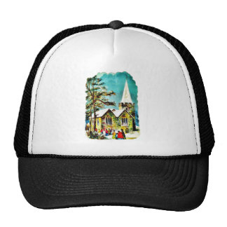 Christmas greeting with people going to church trucker hats