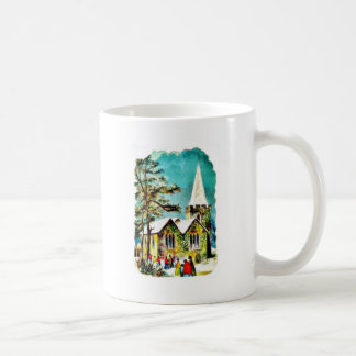 Christmas greeting with people going to church mugs