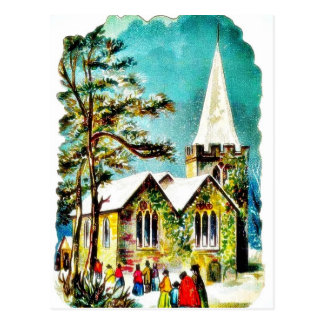 Christmas greeting with people going to church postcard