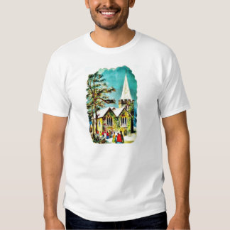 Christmas greeting with people going to church shirts