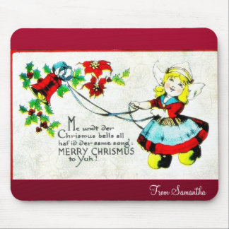 Christmas greeting with photo of boy mouse pad