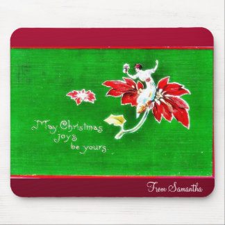 Christmas greeting with photo of boy mousepads