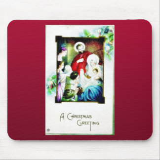 Christmas greeting with photo of jesus, mary, jose mousepad