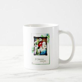 Christmas greeting with photo of jesus, mary, jose mugs