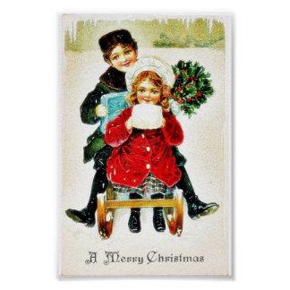 Christmas greeting with playing with gifts poster