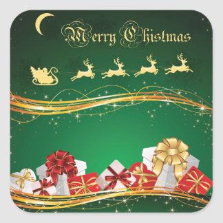 Christmas Greeting with Santa Claus & Reindeer Square Sticker