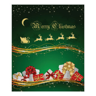 Christmas Greeting with Santa Clause & reindeer Poster