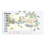 Christmas greeting with scenary and bells business card template