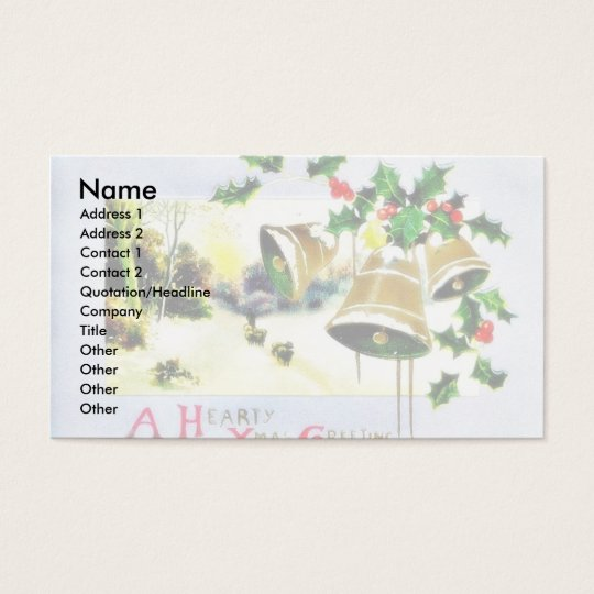 Christmas greeting with scenary and bells business card