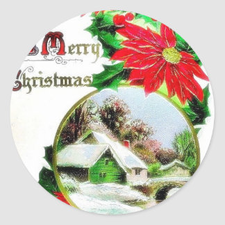 Christmas greeting with scenary classic round sticker