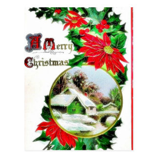 Christmas greeting with scenary postcard