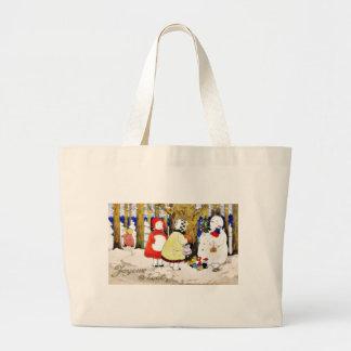Christmas greeting with snow man presents gifts to jumbo tote bag
