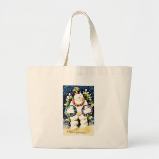Christmas greeting with snow man wearing garlands tote bags