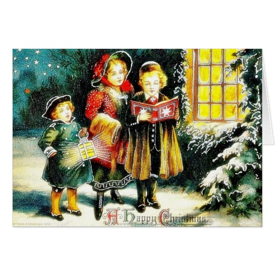Christmas greeting with three persons singing caro card
