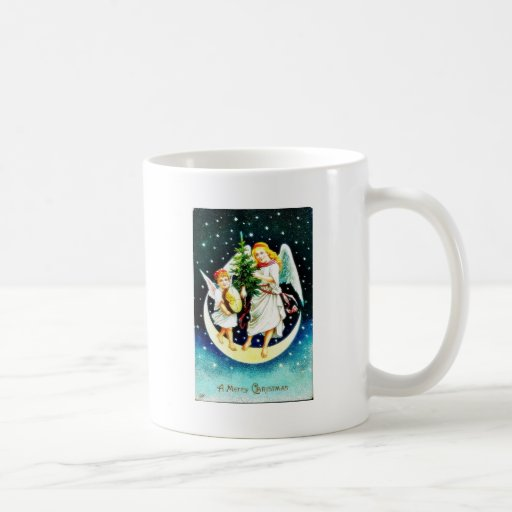 Christmas greeting with two angels carrying christ basic white mug