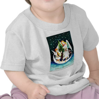 Christmas greeting with two angels carrying christ tee shirts
