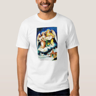 Christmas greeting with two angels holding infant t shirt