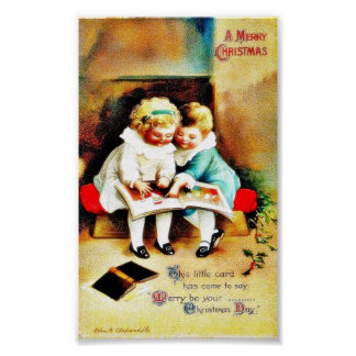 Christmas greeting with two kids looking at santa poster