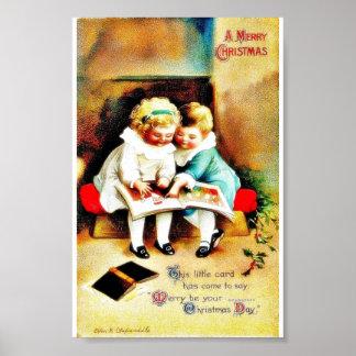 Christmas greeting with two kids looking at santa print