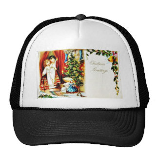 Christmas greeting with two kids looking through t trucker hats