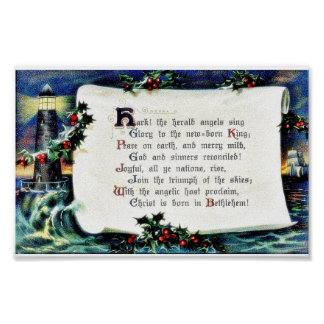 Christmas greeting with wishses written, lighthous poster