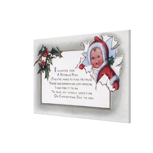 Christmas GreetingLittle Kid Through Paper Gallery Wrap Canvas