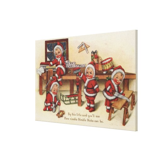 Christmas GreetingLittle Kids on Workbench Stretched Canvas Prints