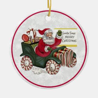Christmas Greetings 1 Round Ceramic Decoration