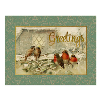 Christmas Greetings Birds Vintage Reproduction Postcard