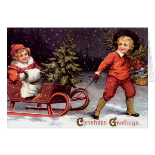 Christmas Greetings Children in Sleigh Card