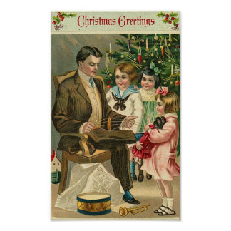 Christmas Greetings Father and Children Print