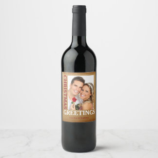 Christmas Greetings Gold Photo Wine Bottle Labels