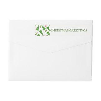 Christmas Greetings Green Red Return Address Wrap Around Label