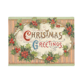 Christmas Greetings Holly Doormat