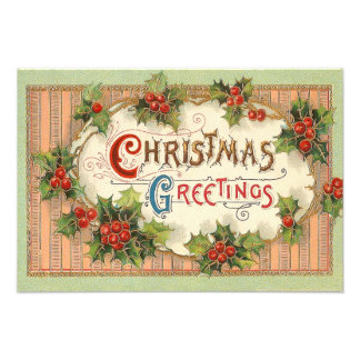 Christmas Greetings Holly Photo Art