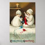 Christmas Greetings Kids Sewing Christmas Socks Print