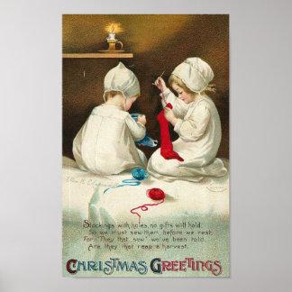 Christmas Greetings Kids Sewing Christmas Socks Poster