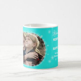 Christmas greetings on Mint background with snow Coffee Mug
