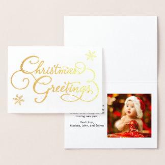 Christmas Greetings Photo Modern Gold Foil Card