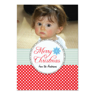 Christmas Greetings Polka Dots Red Photo Card 13 Cm X 18 Cm Invitation Card