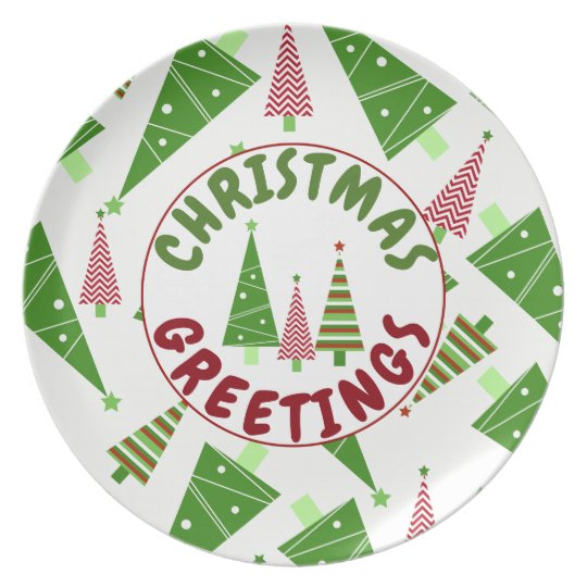 Christmas Greetings Red Green Trees Holiday Plate