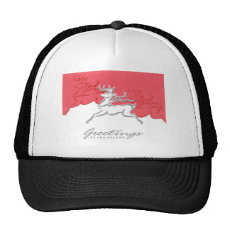 Christmas Greetings Reindeer Red White Holiday Art Trucker Hats