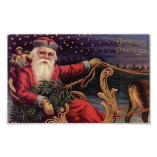 Christmas Greetings Santa Sleigh Print